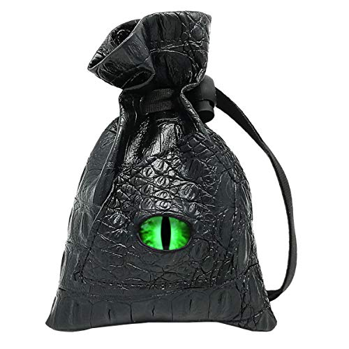 Haxtec Dice Bag Drawstring Leather DND Dice Storage Pouch for D&D Roleplaying Games Dices, Coins and Accessories (Venom-Green ()