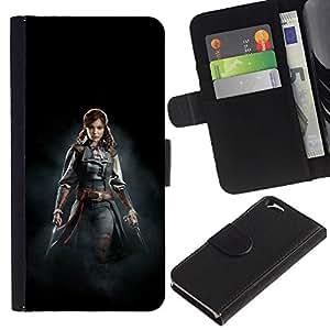 KLONGSHOP // Tirón de la caja Cartera de cuero con ranuras para tarjetas - ASESINOS mujer pirata - Apple Iphone 6 //