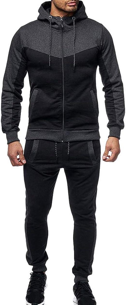 Men/'s Tracksuit 2pcs Sports Suit Set Casual Jogging Hoodies Long Pants Plus Size