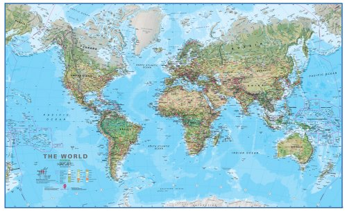 Maps International World Physical Environment Laminated Wall Map (1:20 Scale)