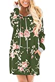 Smibra Womens Causal Banded Long Sleeve Floral Print Hoodies Pleat Blouse Tee Top Green Large