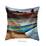 VROSELV Custom Cotton Linen Pillowcase Indian Country Boat Tied at Navajo River Bank in Monument Valley - Fabric Home Decor 18''x18''