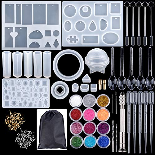83 Pieces Silicone Casting Molds and Tools Set for DIY Jewelry Craft Making by Augshy