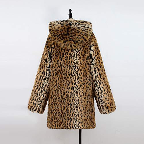 Revers en Long Manteau Col Imprim Yogogo LOpard Fausse avec pour Femmes avec Noir Mi Hooded Vintage ElGant Fourrure E0wqRz
