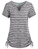 Short Sleeve Henley Shirts for Women,Kimmery Swing Tops Notch V Neck Adjustable Hem Flowy Tunics Drawstring Shirring Details Sides Striped Tee Appearance Outstanding Cozy Cotton Blouse Black XX Large.