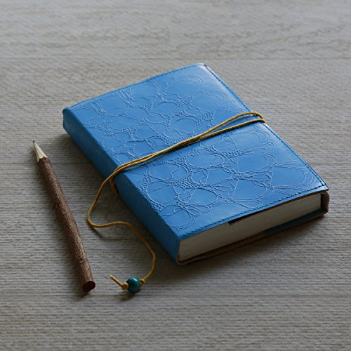 Blue Leather Journal Notebook Diary Handmade Unlined 96 Pages Record Book Personal Organizer with Handmade Cotton Paper