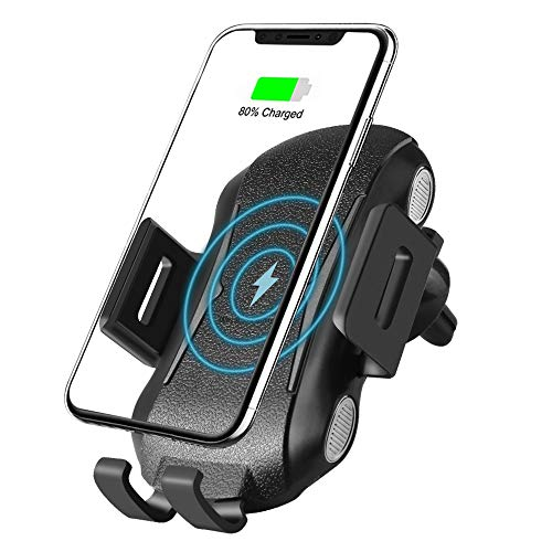 Wireless Car Charger Mount 10W Wireless QC3.0 Charger with Auto-Clamping and Smart Touch Compatible iPhone Xs/Xs Max/XR/X/ 8/8 Plus, Samsung Galaxy S10 /S10+/S9 /S9+/S8 /S8+ and Qi Enabled Devices