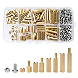 Skedee 200 PCS M3 Male Female Hex Brass Spacer Standoff Screw Nut Assortment Kit,Male Female, Machine Screws Nuts