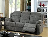 Furniture of America Blake Chenille 2-Recliner Sofa, Gray For Sale