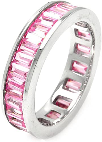 CloseoutWarehouse Pink Simulated Tourmaline Cubic Zirconia Eternity Ring Sterling Silver