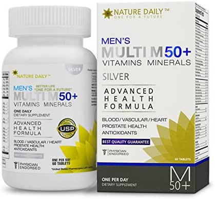 Nature Daily Men's Multi M 50 Plus Vitamins Minerals, Advanced Health Formula, One A Day, 60 Tablets, Whole Food Multivitamins, Supplements