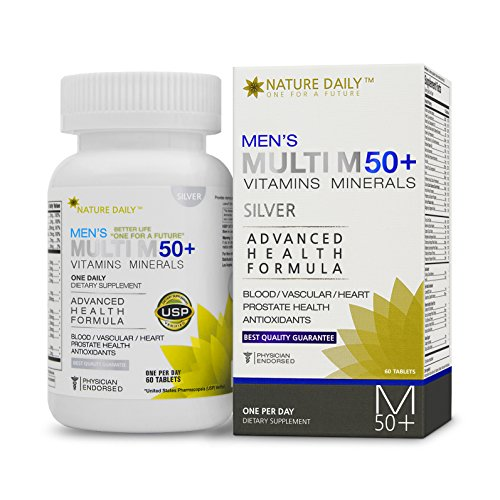 Nature Daily Men's Multi M 50 Plus Vitamins Minerals, Advanced Health Formula, One A Day, 60 Tablets, Whole Food Multivitamins, (50 Plus Formula Tablets)