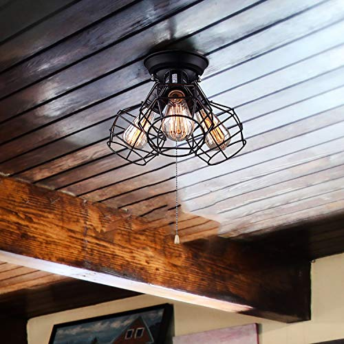 LALUZ 3-Light Wire Cage Ceiling Lighting with Pull String, Industry Close to Ceiling Light Fixture by LALUZ (Image #1)