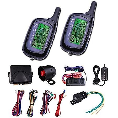 CarBest Vehicle Security Paging Car Alarm 2 Way LCD Sensor Remote Engine Start System Kit Automatic | Car Burglar Alarm System