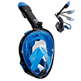 Aidong 180° Full Face Snorkel Mask with Panoramic View Anti-Fog Design,Foldable Storage,See More With Larger Viewing Area Than Traditional Masks