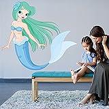 azutura Blue Mermaid Wall Sticker Fairy Tale Fantasy Wall Decal Girls Room Nursery Decor available in 8 Sizes Medium Digital