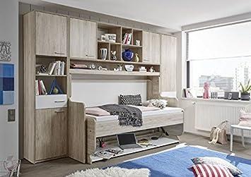 Funktionsmöbel 2 in 1, Bett / Schreibtisch mit Überbau aus Eiche San ...