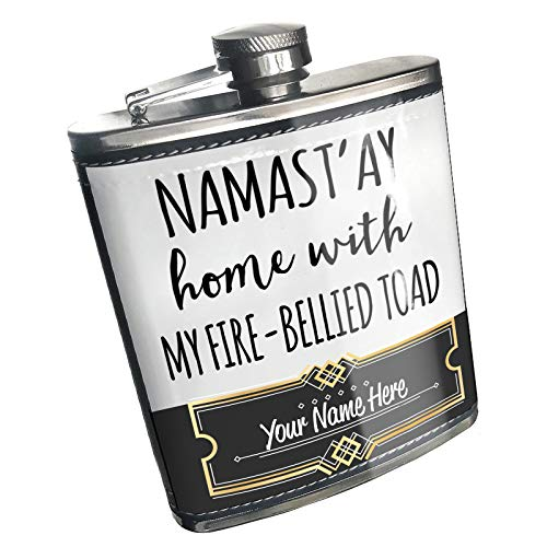 Neonblond Flask Namast'ay Home With My Fire-Bellied Toad Simple Sayings Custom Name Stainless Steel