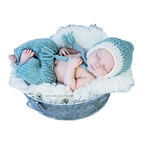 SUNBABY Newborn Baby Handmade Crochet Knitting Costume Infant Photo Photography Prop Hats Pants Suit (Braid Smurfs Suit)