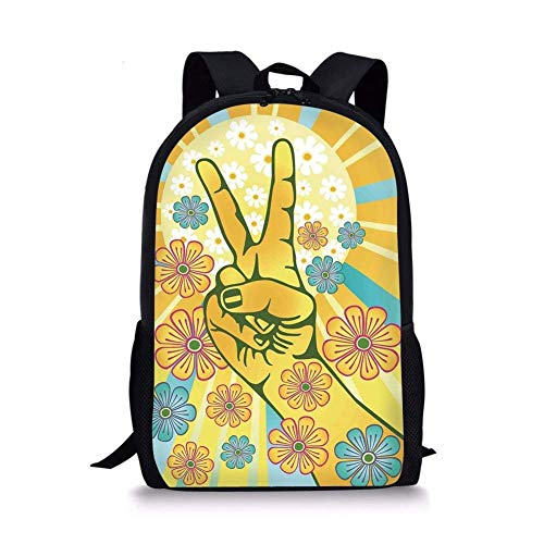 - School Bags Groovy Decorations,Hand Gesturing Symbol of Peace with Flowers and Sunbeams Funky Modern Art,Yellow Blue Pink for Boys&Girls Mens Sport Daypack