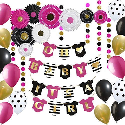 Premium Baby Shower Decorations for Girls Kit | Hot Pink, Black, Gold | Garland Bunting Banner | Tissue Paper Fans | Balloons | Kate Spade inspired