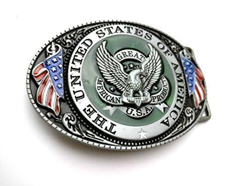 Flag Belt Buckle (U.S.A. American Flag Eagle Belt Buckle Metal Fashion Style For)