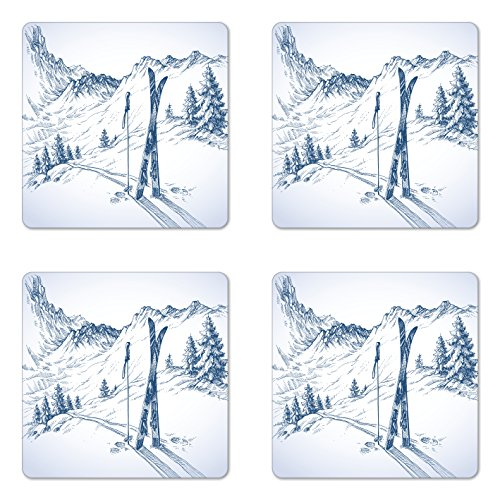 Ambesonne Winter Coaster Set of Four, Sketchy Graphic of a Downhill with Ski Elements in Snow Relax Calm View, Square Hardboard Gloss Coasters for Drinks, Blue White ()