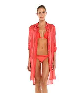 ae1f6fd8441b9 ViX Swimwear Women's Solids Ada Button Down Shirt Dress Swim Cover Up at  Amazon Women's Clothing store: