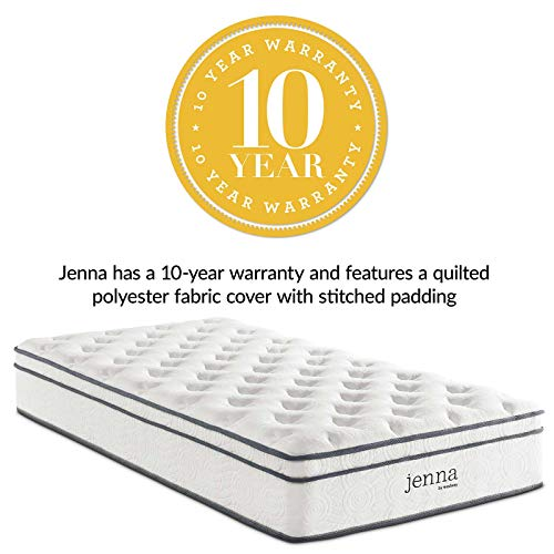 Modway Jenna 10 Twin Innerspring Mattress - Top Quality Quilted Pillow Top - Individually Encased Pocket Coils - 10-Year Warranty