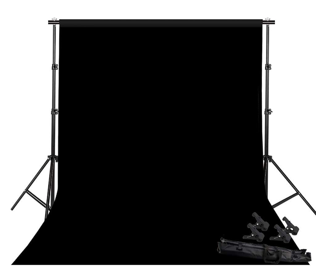 背景スタンド写真 ビデオ スタジオ 背景幕スタンドキット 2x2m 写真サポートシステム 背景 コットン ポートレート 製品写真 ビデオ撮影用 ブラック 940423  ブラック B07MNXV4Z4