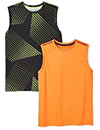 Amazon Essentials Boys' 2-Pack Active Muscle Tank