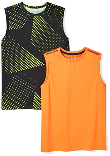 Boys Muscle Tee - Amazon Essentials Big Boys' 2-Pack Active Muscle Tank, Gradient/Orange, M
