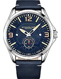 Stuhrling Original reloj de piel para hombre – Reloj de aviación, fecha de día, correa de piel con remaches de acero, 699 Colección de relojes para hombre, Azul