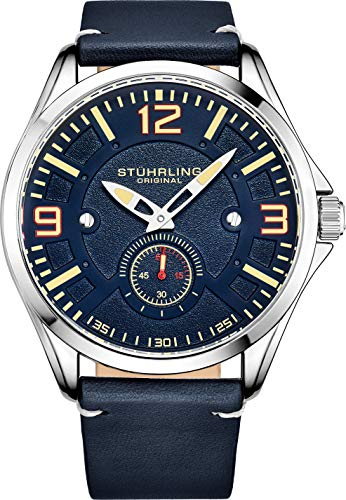 - Stuhrling Original Mens Leather Watch -Aviation Watch, Quick-Set Day-Date, Leather Band with Steel Rivets, 699 Men Watch Collection