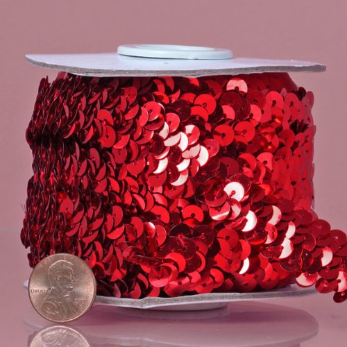 Red Stretch Sequin Trim, 10 Yd (Metallic Trim Sequin Stretch)