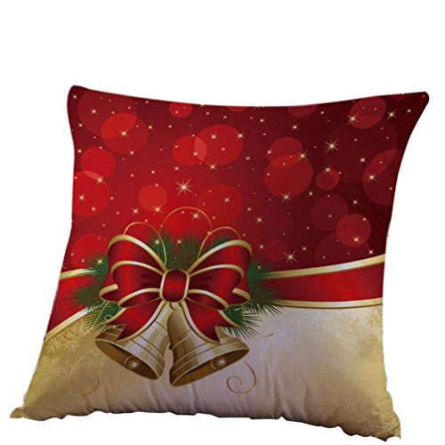 Clearance! SINMA Christmas Pillow Cover Xmas Bells Pattern Home Decorative Cushion Pillow Protector Linen Square Throw Pillowcase
