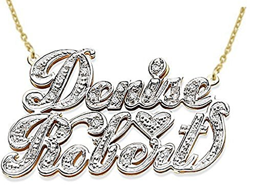 Rylos Personalized 2 Name 0.25 CTW Diamond Nameplate Necklace 14K Yellow or 14K 14K White Gold. Special Order, Made to Order. ()