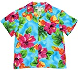 Two Palms Boys Hibiscus Watercolor Rayon Shirt Blue 10