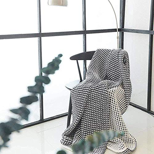 DOUH Knit Throw Blanket, Super Soft Throw Blankets Warm Cozy for Bed and Couch with Navy White Geometric Pattern Knitted Blanket-51 x 63