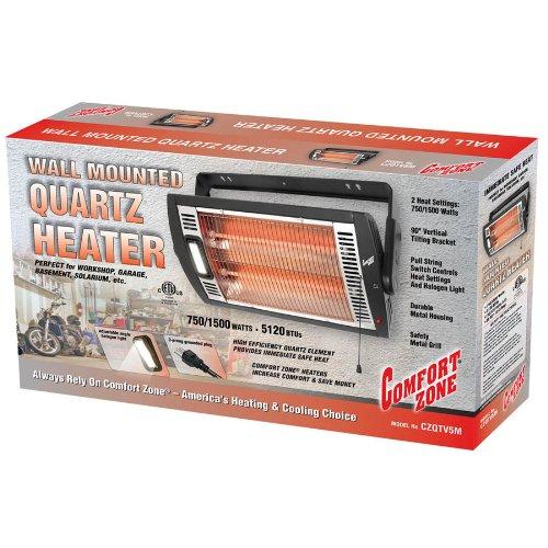 Comfort Zone Ceiling Mount Quartz Heater Black 1500