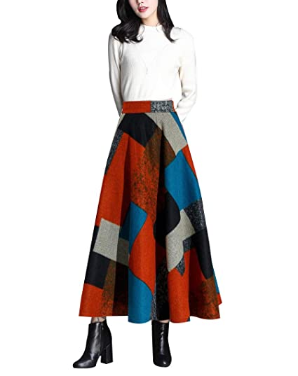 1ae6044182 RIZ-ZOAWD Mujer Vintage Elegante Caliente Cuadros a Rayas Larga Falda de  Lana A-Line Cintura elástica Otoño e Invierno Falda