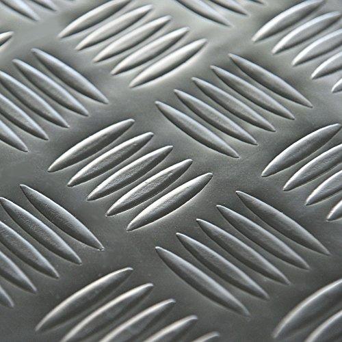 """Rubber-Cal """"Diamond-Grip Resilient Flooring Mat - 2mm x 4ft x 20ft Rubber Flooring Rolls - Dark Gray"""