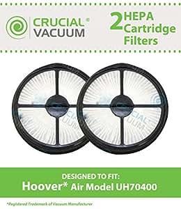 2 Hoover Air Model UH70400 HEPA Filters Cartridge, Part # 303902001, Designed & Engineered by Crucial Vacuum by Crucial Vacuum