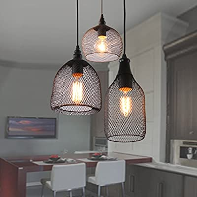 Unitary Brand Antique Black Metal Nets Shade Multi Pendant light with 3 lights Painted Finish