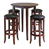 Winsome Fiona 5-Piece Round High Pub Table Set in Antique...