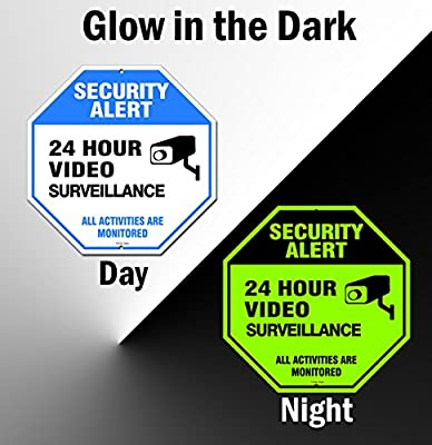 Famtec Video Surveillance Sign - 40 mil Rust Free Aluminium - Glow-in-the-Dark-Signs, Home Business, 24 Hours Security, All Activities are Monitored -CCTV Security Alert-Large 12 X 12 Octagon (Blue) by Famasys