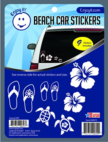 Enjoy It Beach Car Stickers, 9 pieces, Outdoor Rated Vinyl Sticker Decals (Hibiscus, Sea Turtle, Flip Flops) - Beach Decal Sticker