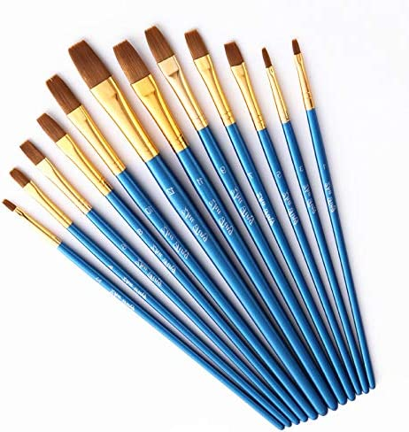 Febbya Paint Brushes,12 Pack Paintbrushes Art Painting Artist Paint Brushes Set for Watercolor Oil Acrylic Crafts Rock Face Painting Drawing DIY Adults Teens Kids Nylon Round PF