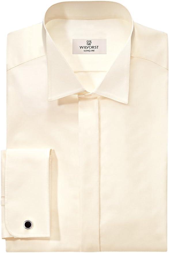 Wilvorst - Camisa de esmoquin con cuello en color crema beige ...