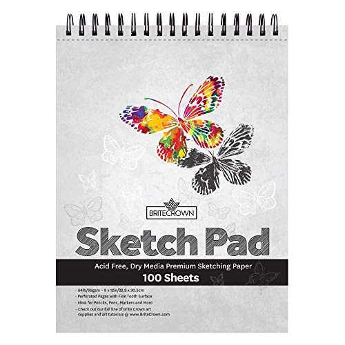 Brite Crown Sketch Book - Sketch Pad 9 x 12-100 Sheets - Perforated Sketchbook Art Paper for Pencils, Pens, Markers, Pastels, Charcoal and Dry Media (64lb/95gsm) Acid Free Drawing Paper